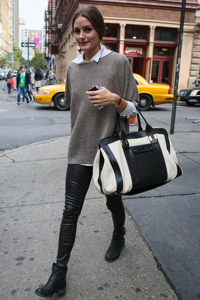 bag sweater knit boots leather boots