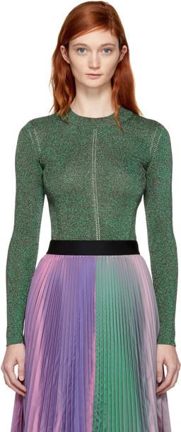 CHRISTOPHER KANE pullover metallic green sweater