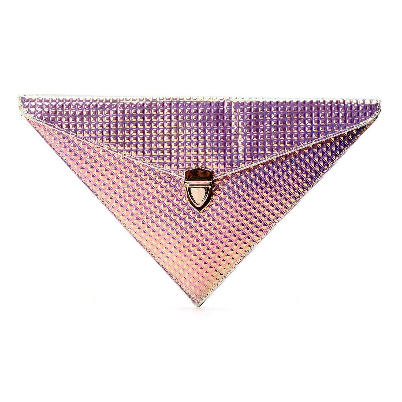 Zarapack women's faux leather hologram triangle handbag (purple): handbags: amazon.com