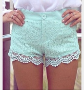 shorts,green,mint,line,lace,lacey shorts,perfect