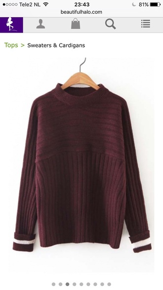 sweater red burgundy fashion style trendy long sleeves cool beautifulhalo