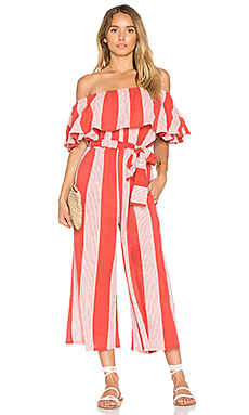 FAITHFULL THE BRAND x REVOLVE Holiday Jumpsuit in Picnic Stripe Print from Revolve.com