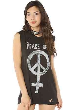 UNIF Tee Peace Off Distressed Muscle Tank in Faded Black and Beige -  Karmaloop.com