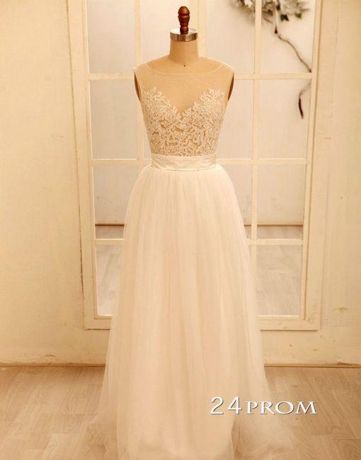A line White Tulle Lace Prom Dresses,Bridesmaid Dress - 24prom