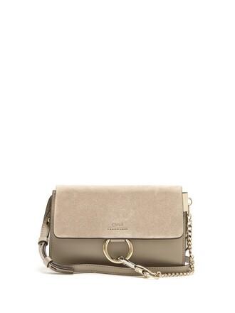 cross mini bag leather suede light grey