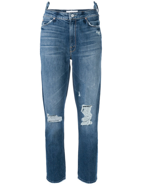 Mother jeans cropped jeans cropped women spandex cotton blue