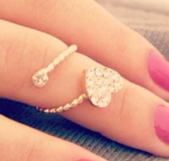 jewels heart ring knuckle ring