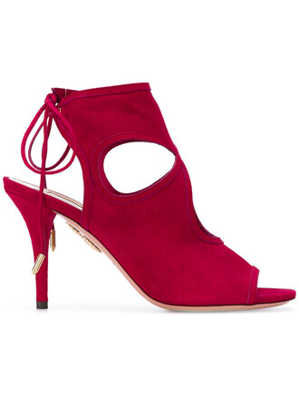 sexy women sandals leather suede red shoes