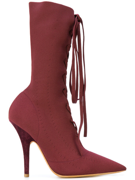 women boots lace leather red shoes