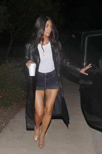 shorts top coat kim kardashian kardashians shoes mules