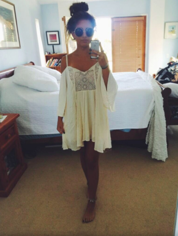 Dress Bohemian Boho Chic Gypsy Hippie Outfit Tumblr Clothes Bell Sleeved Ootd