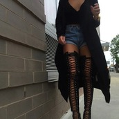 shoes,coat,black jacket,black knee high heels,haute couture,black heels,high heels,fashion,heels,style,cute high heels,thigh highs,strappy black heels,strappy heels,shorts,black top,top,jacket,black,lace up,black boots,gladiator boots,gladiators,knee length,black high heels,high heels boots,jeans,knee high gladiator sandals,cute,cute outfits,knee high sandals