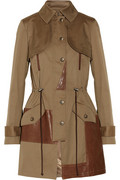 Leather-trimmed cotton-blend canvas trench coat | THE OUTNET