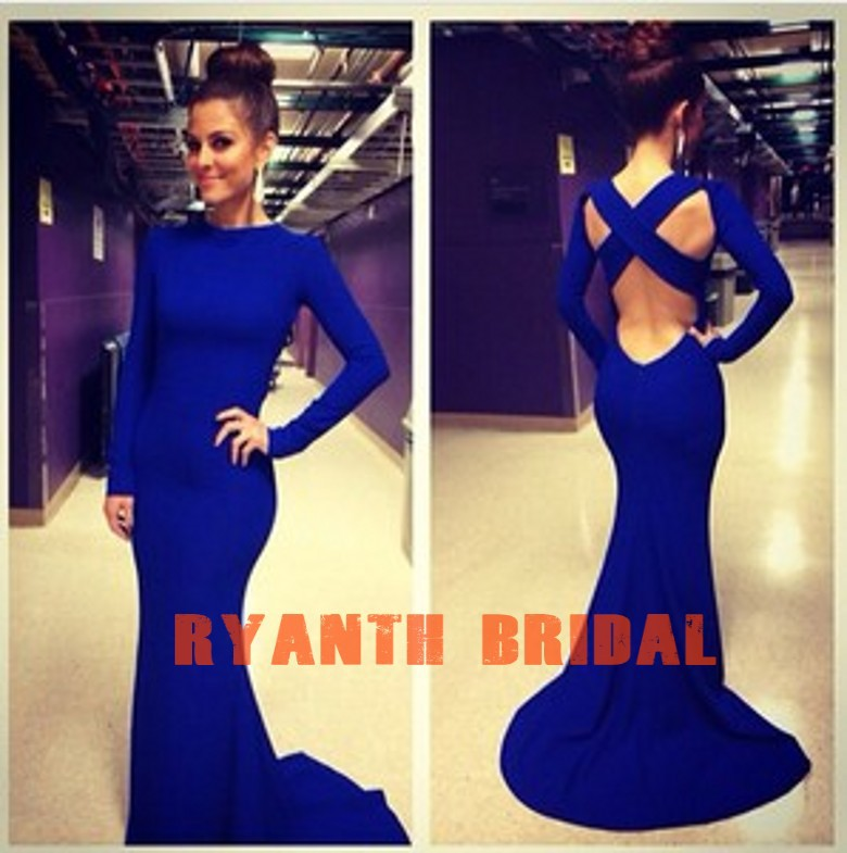 Aliexpress.com : buy rbc001 new arrival sexy royal blue long sleeve high neck evening gown mermaid court train prom dress 2014 from reliable evening dresses suppliers on suzhou unique clothing co.,ltd