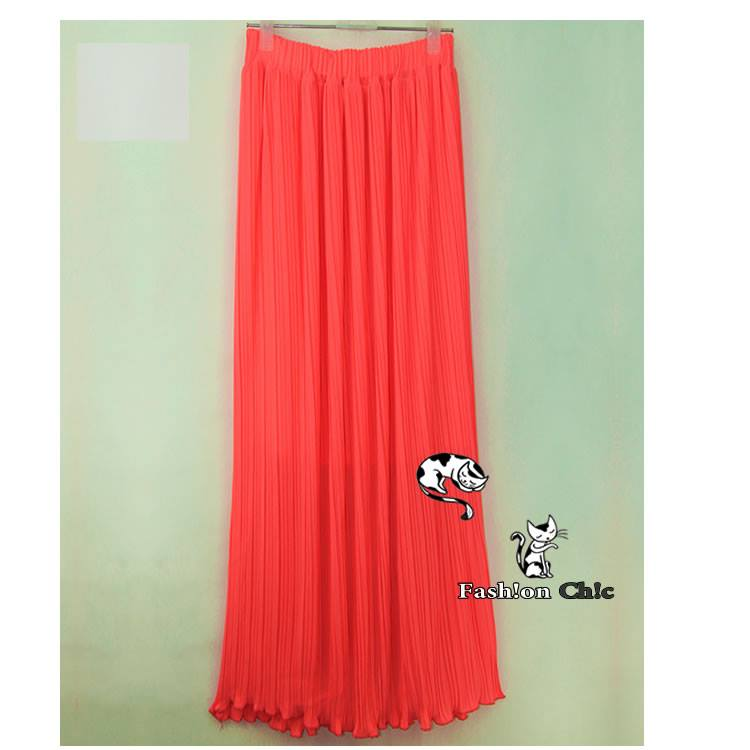 Neon Coral Pink Pleated Chiffon Full Length Maxi Skirt | eBay