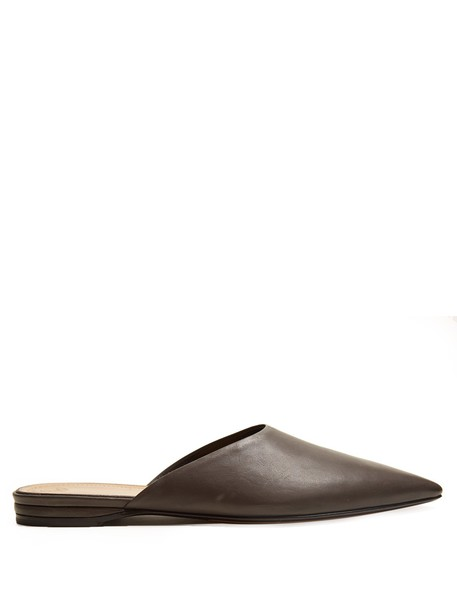 The Row backless loafers leather dark grey shoes