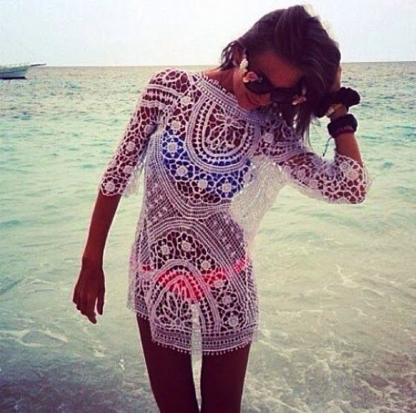 dress white coverup lace beach swimsuit