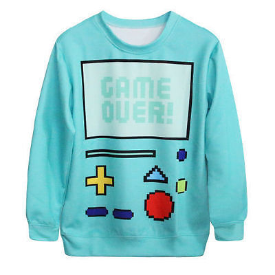 Fashion Adventure Time Game BMO Women Cute 3D Print Sweatshirt Hoodies Game Over | eBay