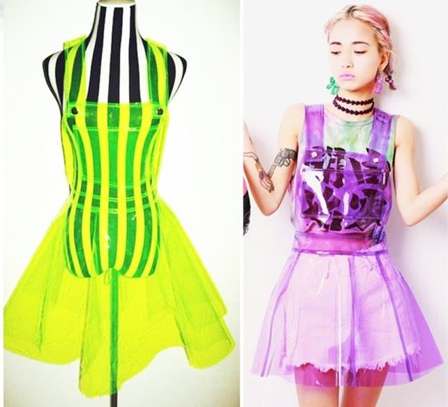 Shiny Neon suspended skirt unif style grunge transparent harajuku disco party