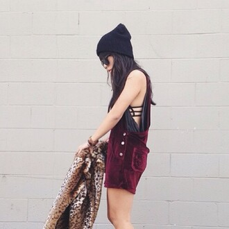 dress overalls velvet vintage hipster indie burgundy ruby red red where can i get this overall