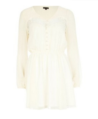 dress white cream beige boho bohemian bohemian dress lace lace insert buttons pretty long sleeves long sleeve dress