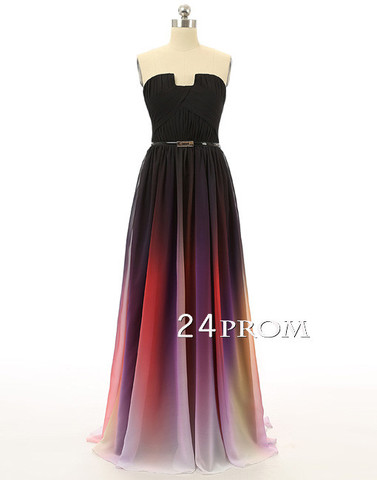 A-line Ombre Colorful Chiffon Sweetheart Long Prom Dress, Evening Dress - 24prom