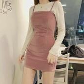 dress,pink,pink dress,spaghetti straps dress,mini dress,ulzzang,korean fashion,cute,white