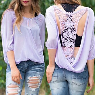 top blouse crochet summer fashion style sexy lilac cut offs long sleeves