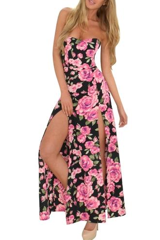 dress zaful floral dress pink floral dress black floral dress slit dress double slit dress sleeveless dress roses dress summer dress