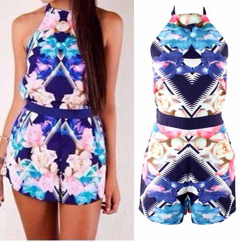 Aliexpress.com : buy free shipping 2014 new fashion hot style backless summer flower halter print party playsuits jumpsuit rompers  from reliable romper dress suppliers on anyfash