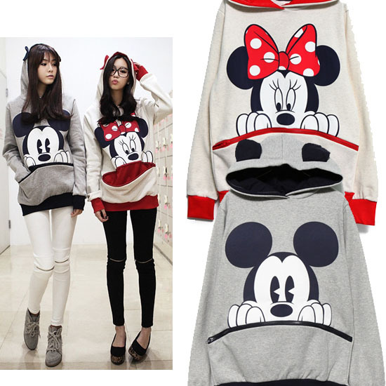 Hot Selling!New 2014 Women Cute Cartoon Mickey Minnie Mouse Printing Pullover Ear Hoodie Sweatshirt With Big Zipper Pocket HX145-inHoodies & Sweatshirts from Apparel & Accessories on Aliexpress.com