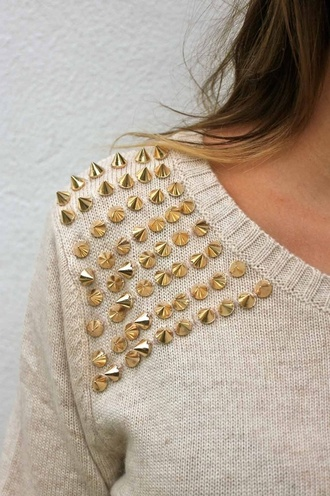 sweater studs gold cream goldstuds studded off the shoulder top