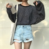 sweater,black and white,sweatshirt,kstyle,oversized sweater,korean fashion,korean style,korean sweater,stripes,kfashion,black and white striped sweat pants,striped sweater