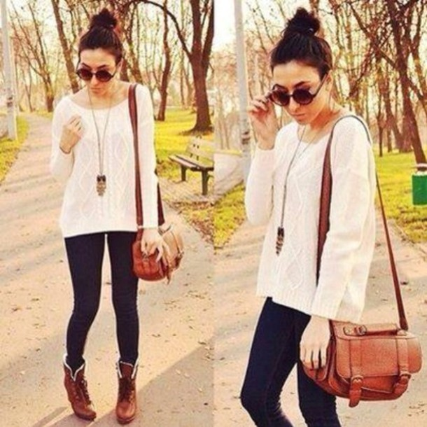 Sweater: white sweater, black pants, brown bag, boots, brown boots ...