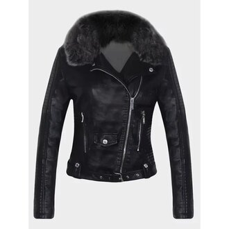 jacket black faux fur leather jacket zip black jacket winter outfits rose wholesale