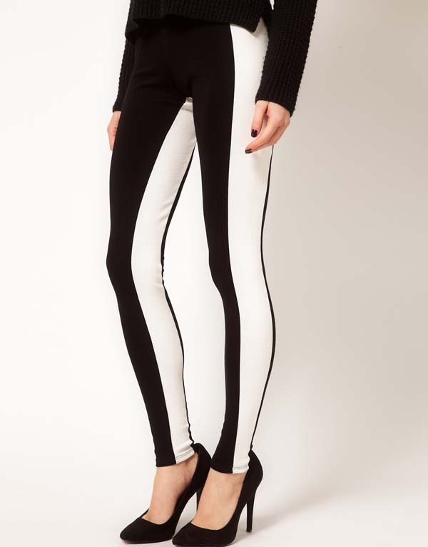pants leggings black and white