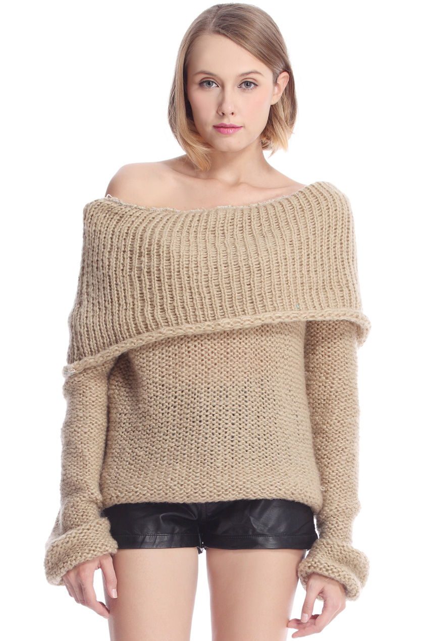 ROMWE | Hollowed Boat Neck Camel Jumper, The Latest Street Fashion