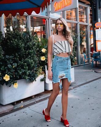 top tumblr crop tops stripes striped top skirt mini skirt denim skirt shoes mules sunglasses