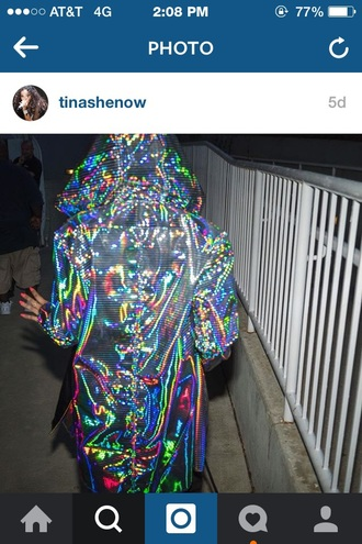 coat tinashe colorful silver stripes holographic