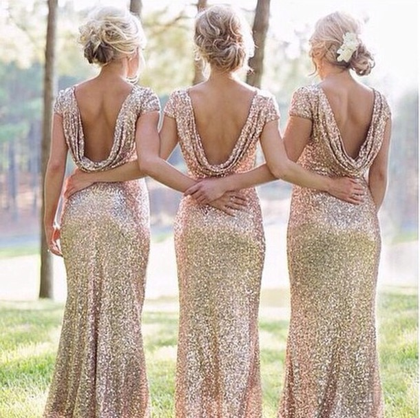 Bridesmaid Sequin Dress Sequins Draped Sequin Gown Bridesmaid