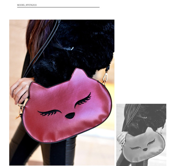 Named Plum Red Embroidery Fox Shape Design PU Shoulder bags,Priced At Only US$8.56