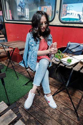 the fancy pants report blogger blouse jeans jacket shoes sneakers nike denim jacket shoulder bag