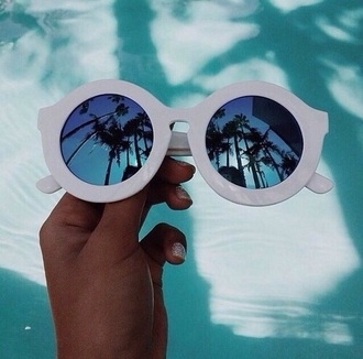 sunglasses white sunglasses white frames mirrored sunglasses mirror shades hipster tropical