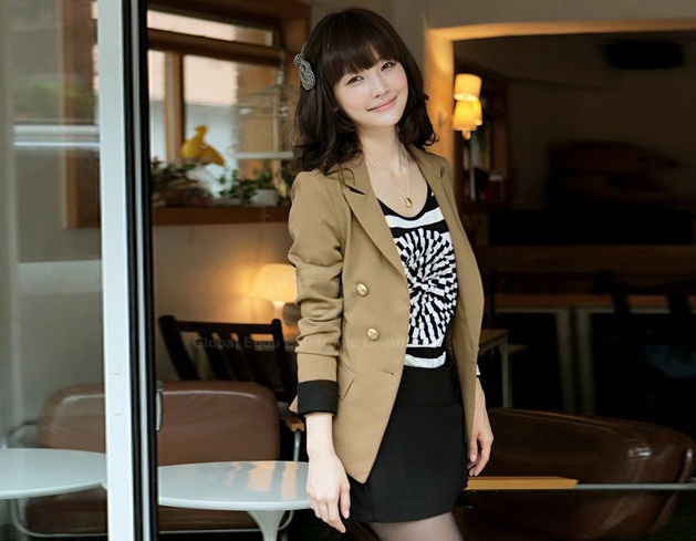 Breasted lapel collar long sleeves black cuff women's khaki blazer for sale
