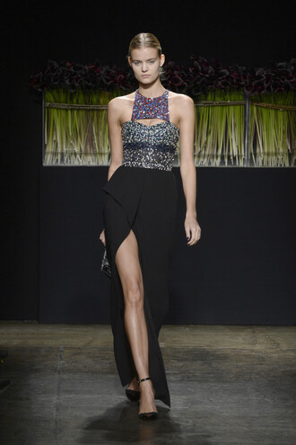 dress slit dress gown prom dress pumps fashion week 2016 ny fashion week 2016 runway