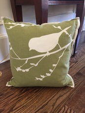 home accessory,green bird in branches pillow