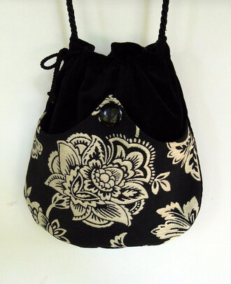 bag black white flowers girl women sack clothes crossover cross body women shoulder bags