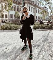 coat,black coat,sunglasses,sneakers
