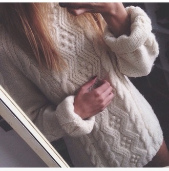 sweater cable knit white sweater