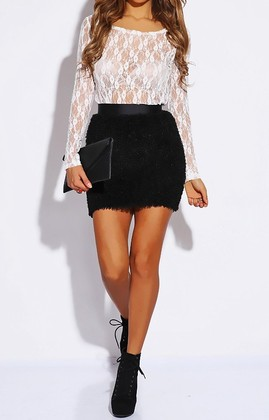 Fuzzy Knit Skirt - Black - Modern Edge Clothing